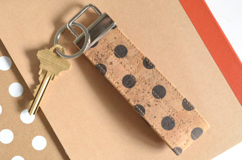 Polka-Dot Cork Leather Keychain