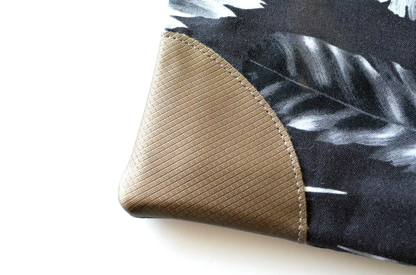 Black Feather Fold Over Clutch