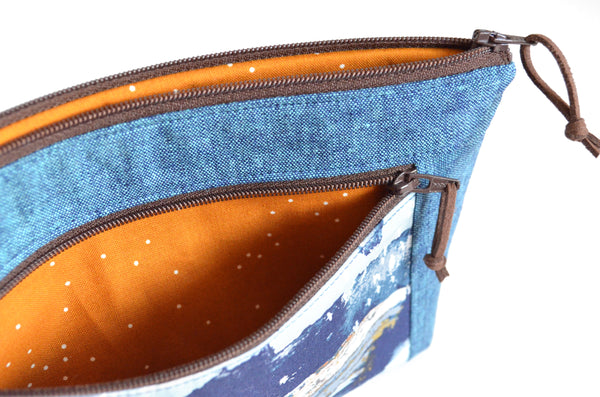 Earthen Rainbow Double-Zip Wristlet