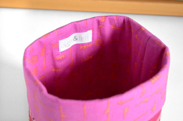 Pink Feather Fabric Plant Pot