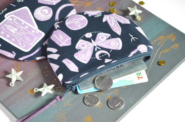 Purple Tarot Round Coin Purse