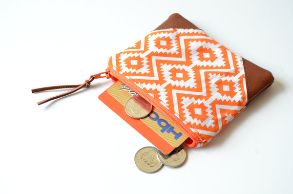 Orange Fiesta Leather Coin Purse