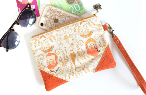 Orange Sailor Cork Wristlet Clutch