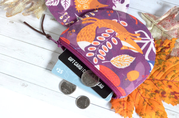 Purple Woodland Friends Coin Purse