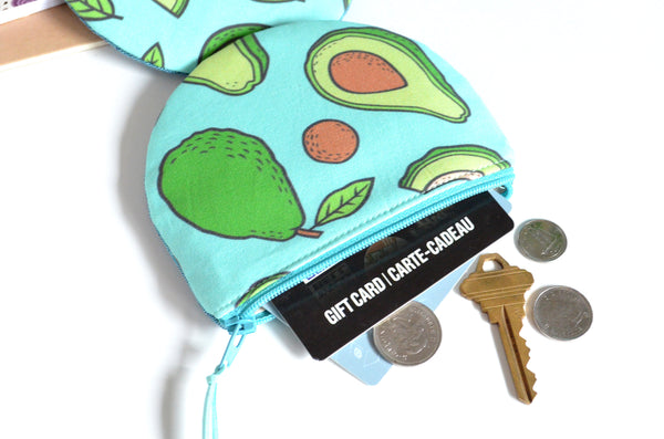 Round Coin Purse - Bright Blue Avocados