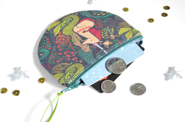 Green Mermaid Round Coin Purse