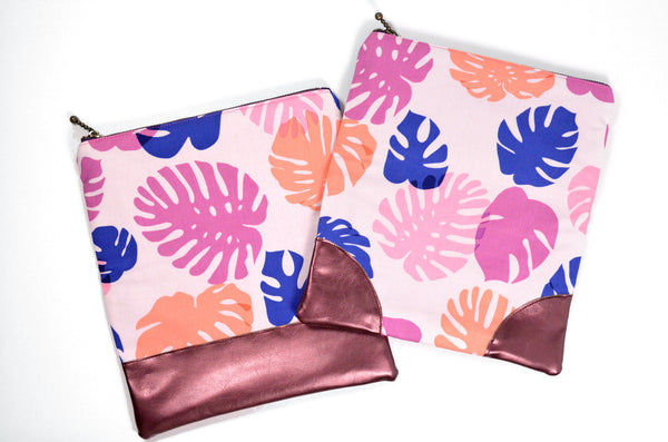 Pink Monstera Fold Over Clutch