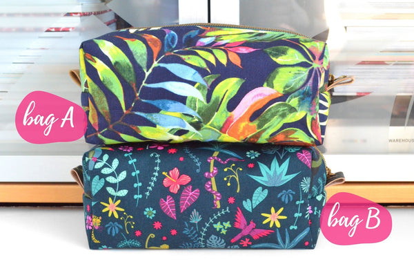 Navy Blue Tropical Boxy Toiletry Bag