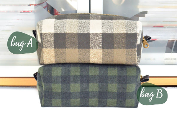 Olive Green Plaid Flannel Boxy Toiletry Bag