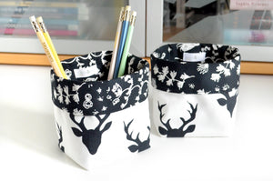 Black & White Deer Fabric Plant Pot