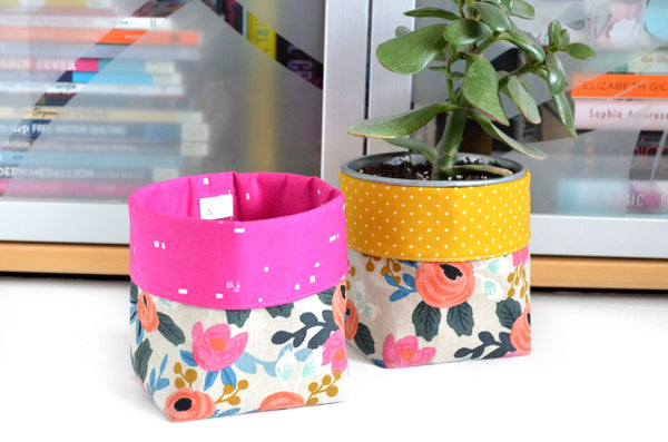 Rifle Paper Co. Les Fleurs Fabric Plant Pot