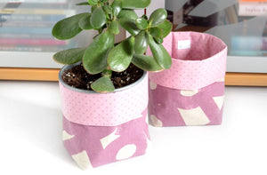 Purple Geometric Fabric Plant Pot