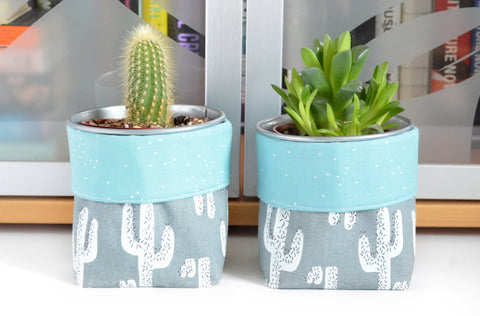 Grey Cacti Fabric Plant Pot