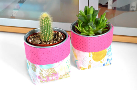 Pink Abstract Art Fabric Plant Pot