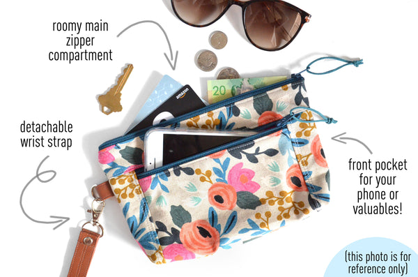 Navy Rifle Paper Co. Les Fleurs Double-Zip Wristlet