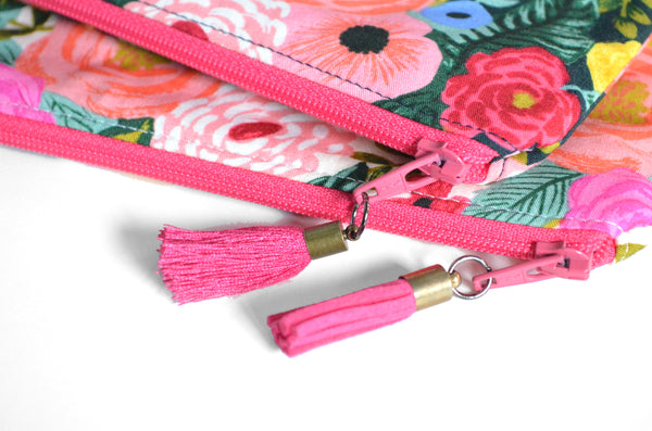 Pink Rifle Paper Cork Wristlet Clutch