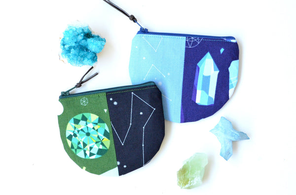 Green Gem & Constellation Round Coin Purse