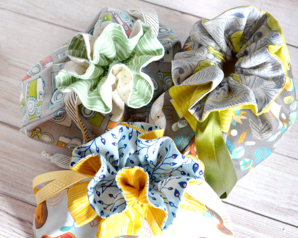 Grey Woodland Fabric Gift Bags