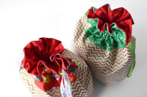 Gold Zig-Zag Christmas Fabric Gift Bag