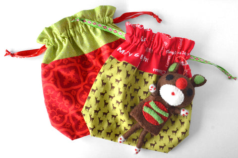 Christmas Deer Fabric Gift Bag