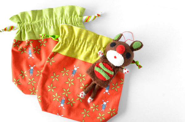Red Bunny Fabric Gift Bag