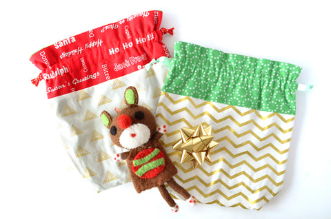 Gold Christmas Fabric Gift Bag