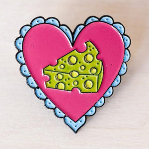 Enamel Pin: Cheese Love, 1.25""