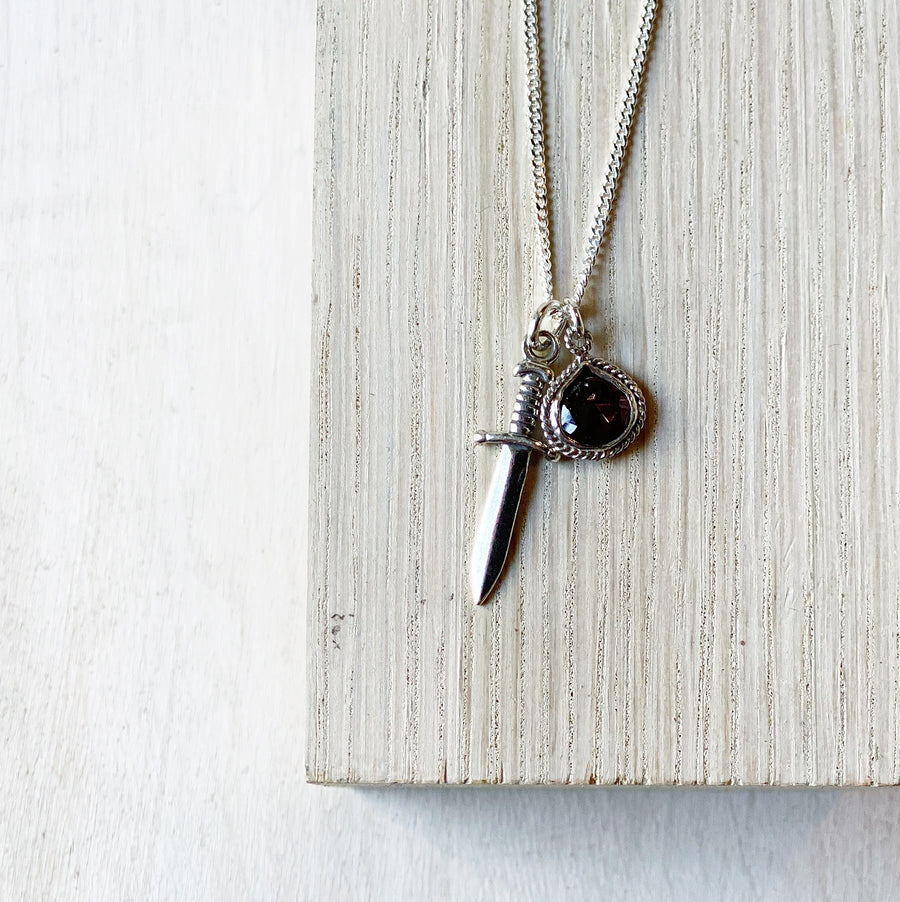 Necklace: Silver Sword + Garnet