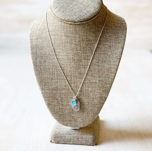 Necklace: Sterling Silver Scarab + Labradorite