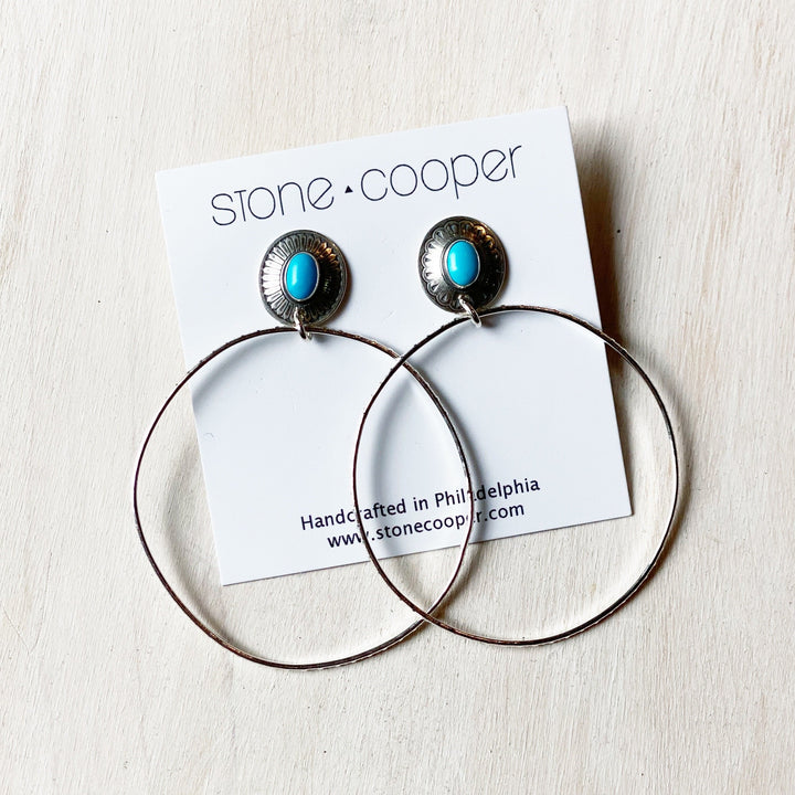Earrings: Vintage Turquoise Stud Hoops