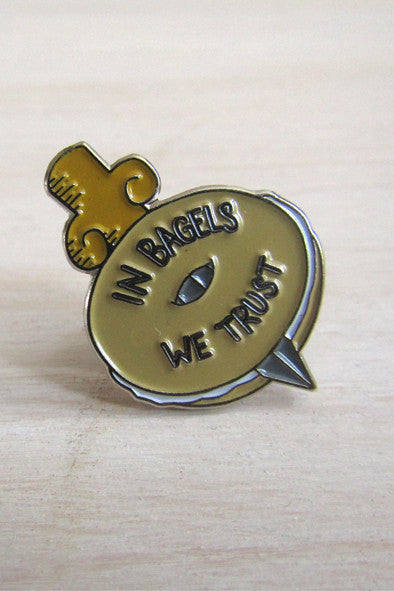 Enamel Pin: In Bagels We Trust, 1.25""