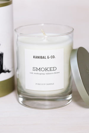 Smoked scented candle, glass jar