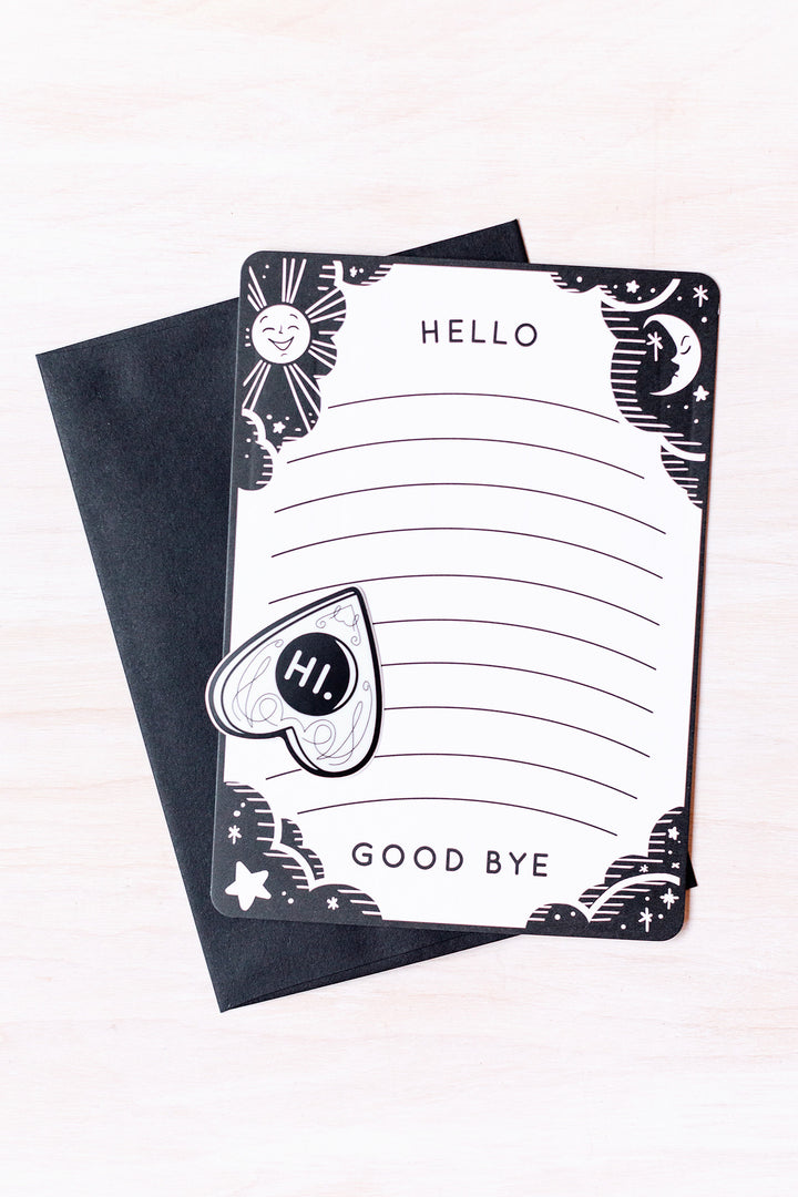 Hello / Good bye notecard and planchette sticker