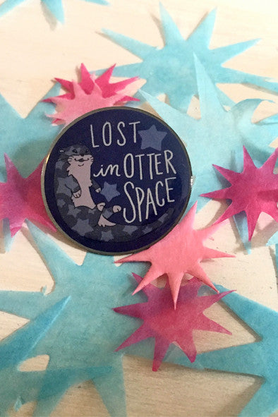 Enamel Pin: Otter Space, 1.25""