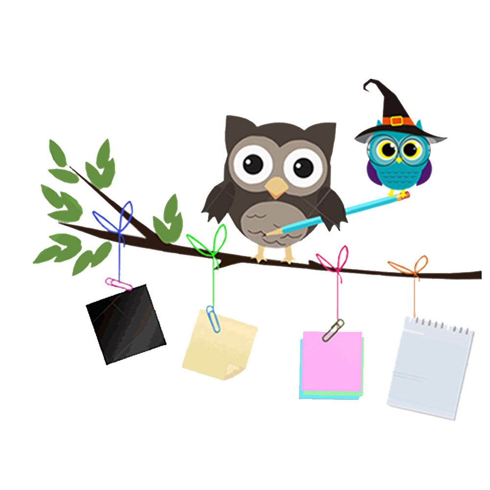 cartoon owl tree wall decal