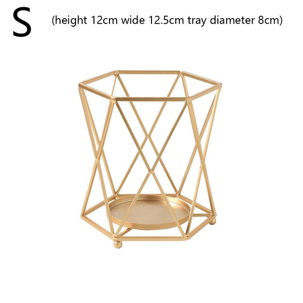 Nordic Style Wrought Iron Geometric Candle Holders Home Decorate Metal Crafts Candlestick Candelabros De Velas Holder Mesa