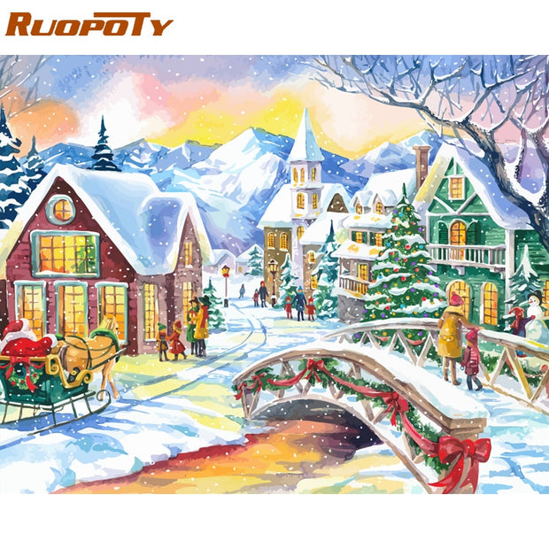 RUOPOTY Christmas Picture DIY Painting By Numbers Kits Landscape Modern Handpainted Oil Painting For Home Decors Artwork 60x75cm