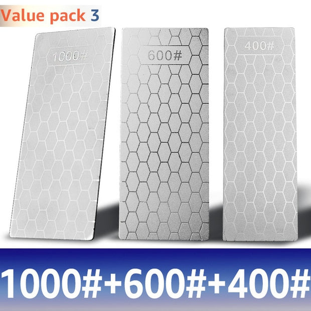 Diamond Knife Sharpening Stone 1000 600 400 Grit Kitchen Knife Sharpening Plate Whetstone GrindStone Grinder Tool Honing Set