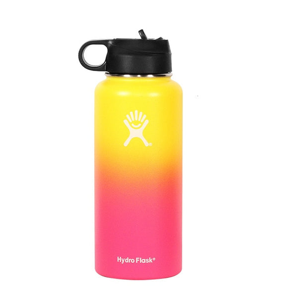 Hydro Flask 18oz/32oz Vacuum Flask Insulated Thermos Stainless Steel Straw Water Bottle Wide Mouth Sport Travel Bottles