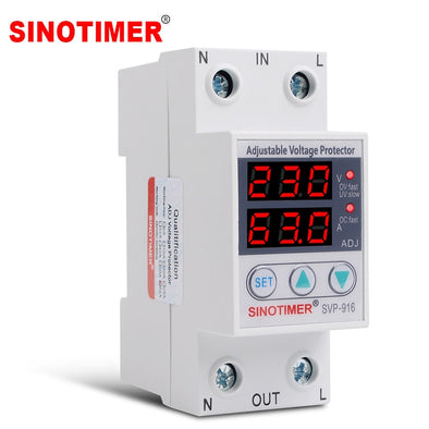 Adjust Voltage Relay Control Over Under Voltage Protector 220V 63A 40A Overvoltage and Over Current Protection Devices Din Rail