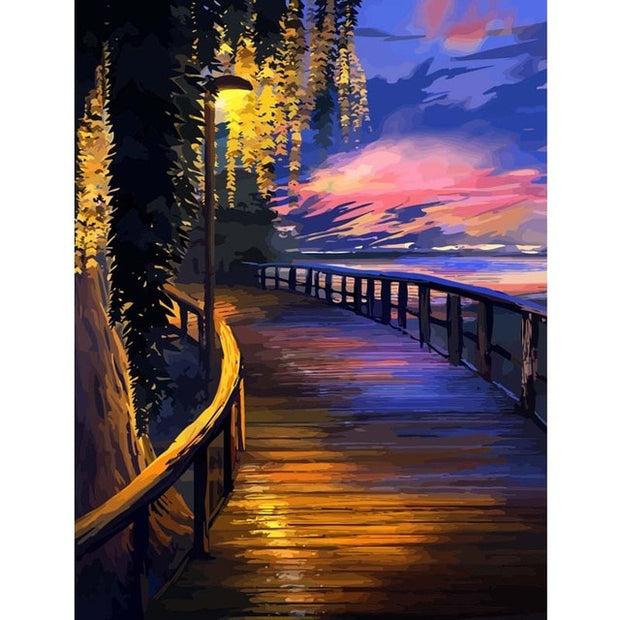 RUOPOTY Frame Landscape DIY Painting By Numbers City Night Modern Home Wall Art Picture Acrylic Paint On Canvas For Home Artwork