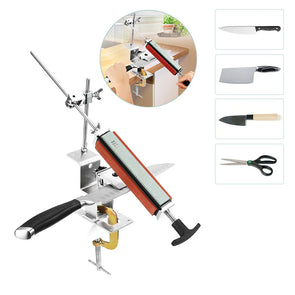 Professional kitchen knife sharpener system with 4pcs Whetstones+ Aluminum alloy+ G clip Knife Sharpener Tool Set