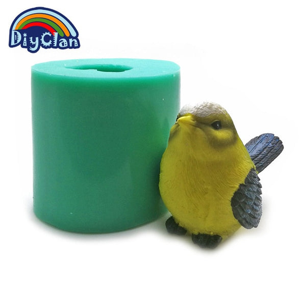 4 Style DIY Silicone Bird Molds For Cake Decoration 3D Simulation Cuckoo Soap Form Salt Sculpture Sculpture Chocolate Sparrow