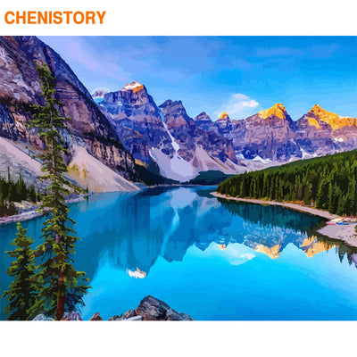 CHENISTORY Frame Picture Landscape Diy Painting By Numbers Mountain Acrylic Paint By Numbers Wall Art Picture By Numbers 60x75cm
