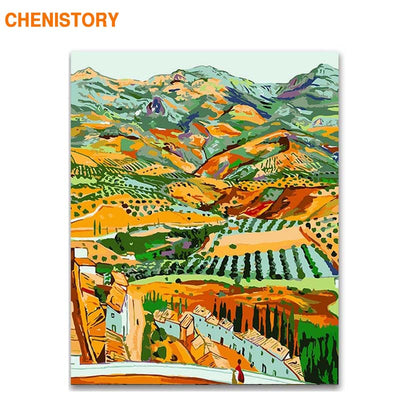 CHENISTORY Frame Famous Picture DIY Painting By Numbers Landscape Coloring By Numbers Modern Wall Art Canvas Painting Home Decor