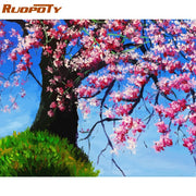 RUOPOTY Frame DIY Painting By Numbers Landscape Mountain Lake Acrylic Paint On Canvas Handpainted Oil Painting For Home Wall Art