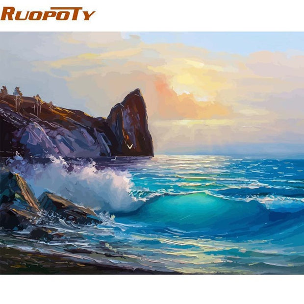 RUOPOTY Framed DIY Painting By Numbers Landscape Kit Acrylic Paint On Canvas Wall Art Picture By Numbers For Home Decor 60x75cm