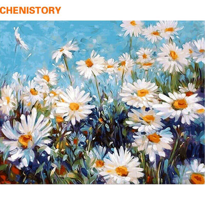 CHENISTORY Frameless Chrysanthemum DIY Painting By Numbers Modern Wall Art Canvas Hand Painted Oil Painting For Home Decor 40x50