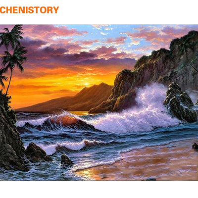 CHENISTORY Frame Diy Painting By Numbers Mountain Seascape Calligraphy Painting Acrylic Paint On Canvas For Home Decor 60x75cm
