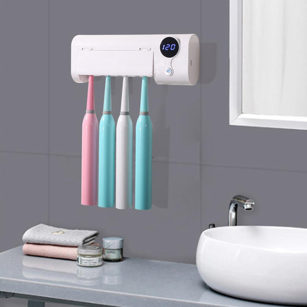 UV Light Toothbrush Toothpaste Dispenser Sterilizer Wall Mounted Holder Rack Help to sterilize toothbrush and remove bacteria.